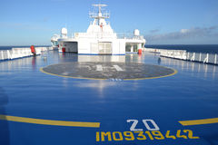 Helipad on the cargo ferry Stock Photo
