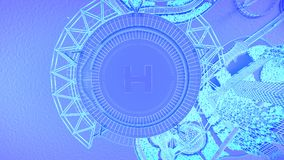 Helipad. Concept future city skyline. Futuristic business vision concept. 3d illustration. Stock Photography