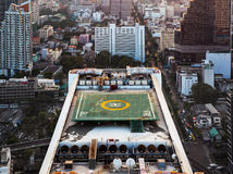 Helipad (Helicopter landing pad) on roof top building. Helicopter landing pad on roof top building in Bangkok, Thailand Stock Photography