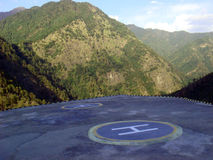 Helipad in hills Stock Photo