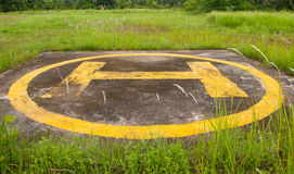 Helipad on jungle closeup Stock Image