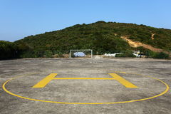 The Heliport. On the football field Stock Photos
