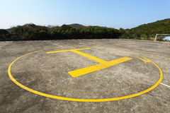 The Heliport. On the football field Royalty Free Stock Image
