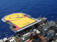 Heliport. On Offshore Tension Leg platform Stock Photos