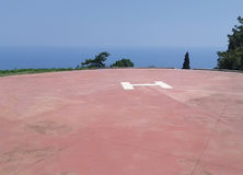 Heliport at Great Lavra on Mount Athos, Greece Royalty Free Stock Images
