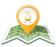 Heliport Map Indicates Copter Cartography And Air. Heliport Map Showing Hovering Helicopter And Location Stock Photography