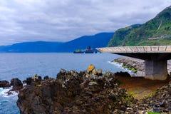 Heliporto por um litoral litoral foto de stock