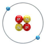 Helium atom on white background Stock Photo