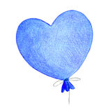 Helium balloon in the shape of a heart. Cartoon print Valentine` Stock Image