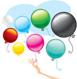 Helium balloons. Colorful balloons at female hand-vector stock illustration