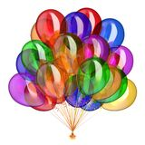 Helium balloons bunch party decoration colorful multicolored. Colorful party balloons, birthday decoration multicolored, helium balloon bunch glossy different Royalty Free Stock Images