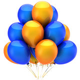 Helium balloons. Holiday concept (Hi-Res). Colorful (blue, orange) helium balloons. Positive emotions concept. This is a detailed 3D render (Hi-Res). Isolated on Stock Images