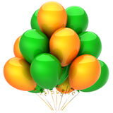 Helium balloons. Party decoration (Hi-Res). Colorful (green, orange) helium balloons. Positive emotions concept. This is a detailed 3D render (Hi-Res). Isolated Royalty Free Stock Photo