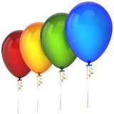 Helium balloons in a row. Colorful (red, orange, green, blue) helium balloons in a row. Joyful decoration concept. Positive emotions. This is a detailed 3D Royalty Free Stock Image