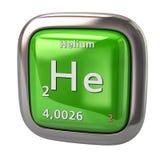Helium hij chemisch element van het periodieke lijst groene pictogram Stock Foto's