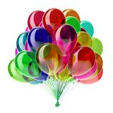 Helium party balloons multicolored decoration. Party balloons multicolored birthday decoration glossy colorful. 3d illustration, isolated royalty free illustration
