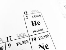 Helium on the periodic table of the elements stock photo