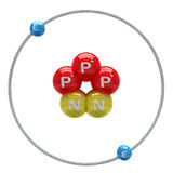 Helium (unstable isotope) atom on white background. Helium (unstable isotope) atom on white the background Stock Image