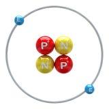 Heliumatom auf weißem Hintergrund Stockfoto