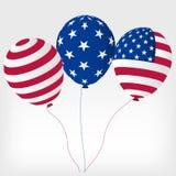 Heliumbollar med symboler av Amerikas förenta stater vektor illustrationer