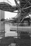 The Helix Bridge. The double helix bridge at Singapore marina bay in black and white Royalty Free Stock Photo
