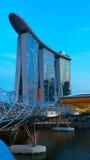 Helix bridge and famouse hotel Stock Photos