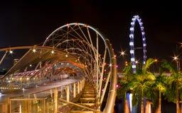 Helix Bridge and Flyer, Singapore Royalty Free Stock Photo