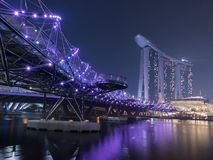 Helix bridge. Leading to the Marina Bay sand, singapore Stock Photos