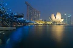 Helix bridge. Leading to the Marina Bay sand, singapore Stock Photo