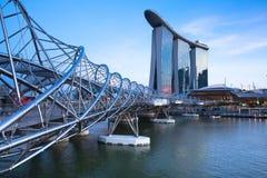 Helix Bridge leading to Marina Bay Sands Hotel Royalty Free Stock Photo