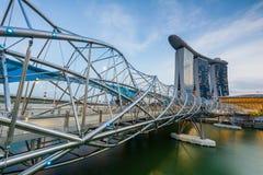 Helix Bridge leading to Marina Bay Sands Hotel Stock Images