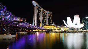 Helix Bridge, Marina Bay Sand and Artscience. Stock Image