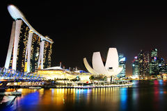 Helix Bridge, Marina Bay Sand and Artscience. Royalty Free Stock Photo