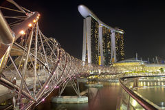 Helix Bridge and Marina Bay Sands Royalty Free Stock Photos