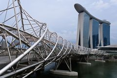 Helix Bridge & Marina Bay Sands Stock Image