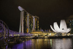 The Helix bridge, Marina Bay Sands and Art Science museum royalty free stock photography