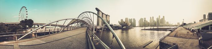 The Helix bridge with Marina Bay Sands in background, Singapore Royalty Free Stock Photo