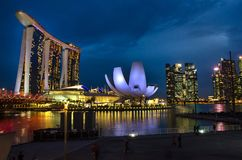 The Helix Bridge, Marina Bay Sands Hotel and Art and Science Museum, Singapore stock photography