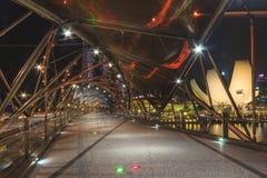 Helix bridge and urban skyline of Singapore Stock Images