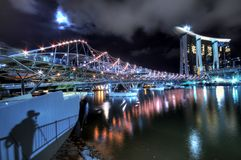 Helix Bridge and Marina Bay Sands IR Stock Images