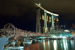 The Helix Bridge and the Marina Bay Sands IR Royalty Free Stock Photography