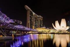 Helix Bridge and Marina Bay Sands Royalty Free Stock Photo