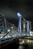Helix bridge and marina bay sands at night Royalty Free Stock Images