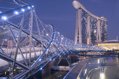 Helix Bridge and Marina Bay Sands Royalty Free Stock Images