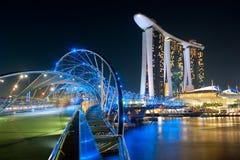 Helix Bridge and Marina Bay Sands Royalty Free Stock Image