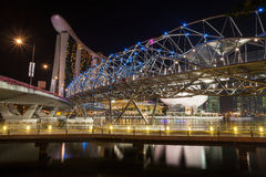 Helix Bridge, Marina Bay Sands in Singapore at Night Stock Images