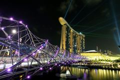 The Helix Bridge and Marina Bay Sands in Singapore stock images
