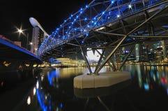 Helix Bridge overlooking Marina Bay Sands Hotel Stock Photo