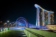 Helix Bridge, Singapore. The light of helix bridge royalty free stock image