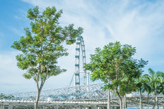 The Helix Bridge and The Singapore Flyer Stock Photo